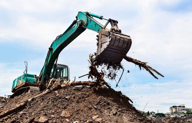 Primer plano de excavadora