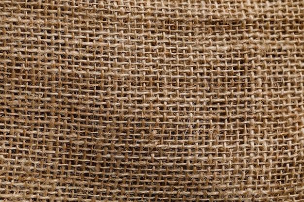 Primer plano de fondo de textura de arpillera con espacio para texto