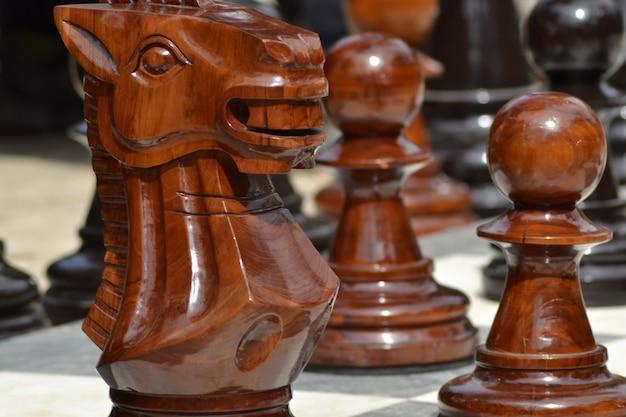 Primer plano de grandes figuras de ajedrez al aire libre de madera con un fondo borroso