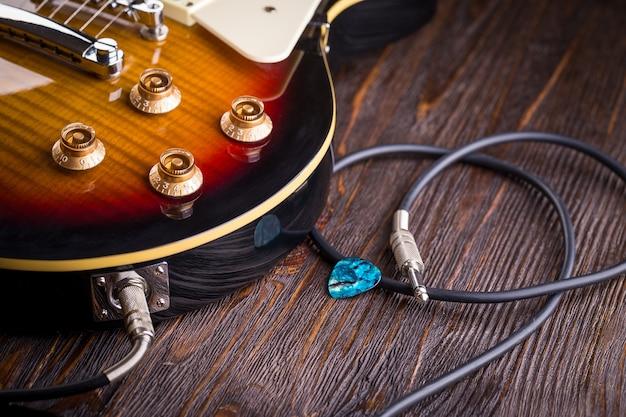 Primer plano de la guitarra musical