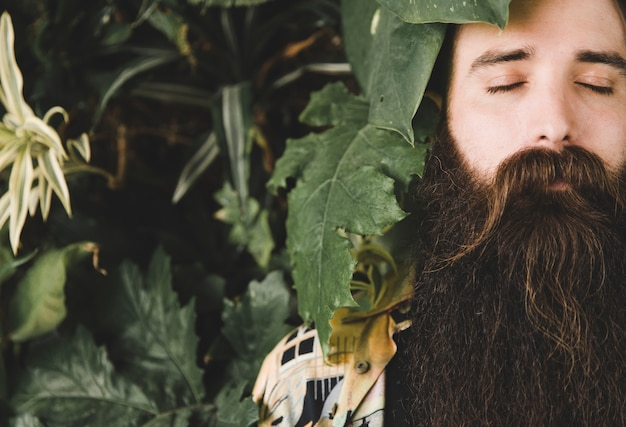 Primer plano de las hojas de la planta cerca de la cara del hombre con los ojos cerrados y una larga barba