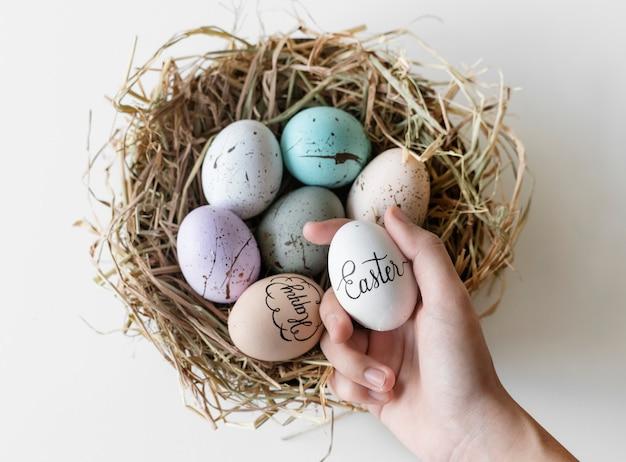 Primer plano de los huevos de pascua