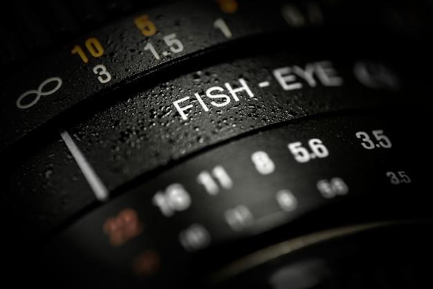 Primer plano de la lente dslr fishe-ojo