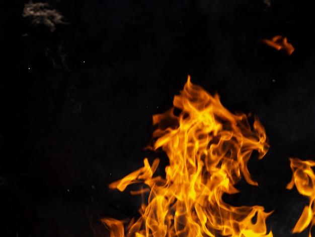 Primer plano de llamas de fuego
