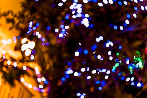 Primer plano de la luz de hadas defocused en árbol
