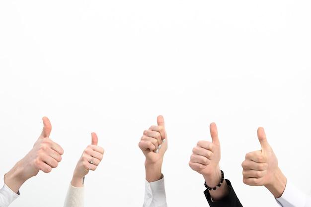 El primer plano de la mano de la gente de negocios que muestra el pulgar encima de la muestra aislada sobre el fondo blanco