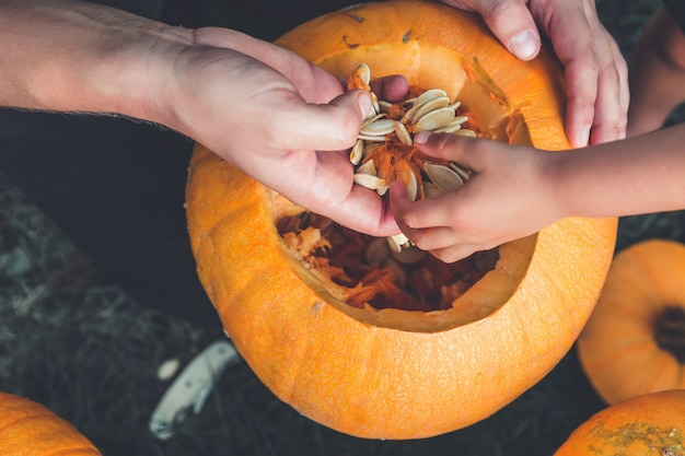Un primer plano de la mano de la hija y el padre que saca semillas de una calabaza de halloween.