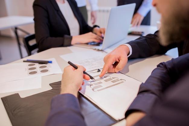 Primer plano de manos de empresarios durante la discusión del plan de negocios