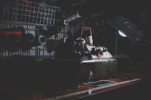 Primer plano de la máquina de coser