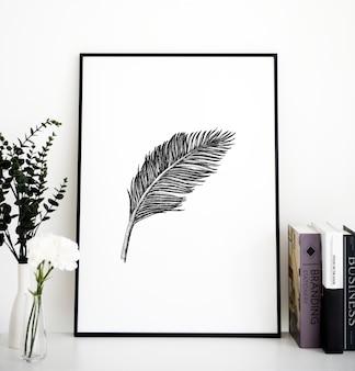 Primer plano del marco de la foto de plumas