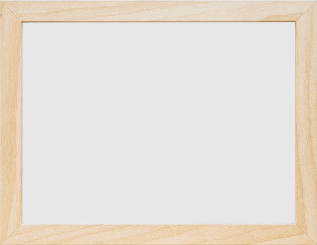 Primer plano de marco de madera en blanco blanco