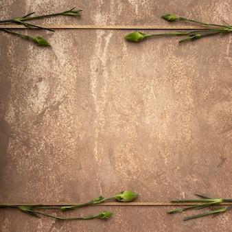 Primer plano marco sepia con pequeños tallos de clavel