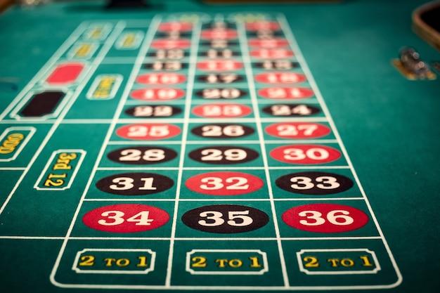 Primer plano de una mesa de juego en uno de los casinos de las vegas