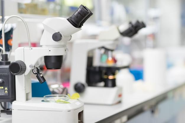 Primer plano de microscopio en el laboratorio de sangre, ciencia conceptual y tecnología