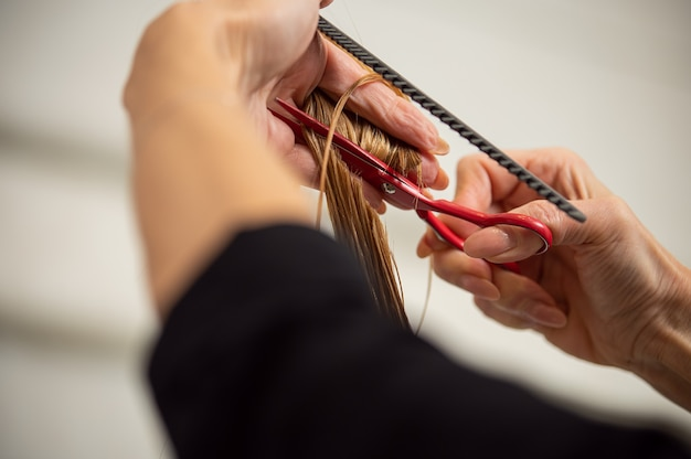 Primer plano de una mujer manos sosteniendo tijeras de peluquería y corte de pelo largo y rubio