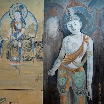 Primer plano del mural de la pared, dunhuang, jiuquan, provincia de gansu, china