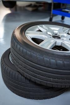 Primer plano de los neumáticos