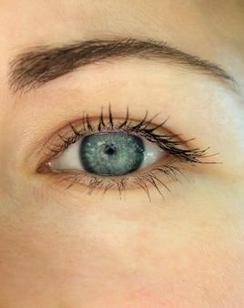 Primer plano de niña hermosa ojo azul