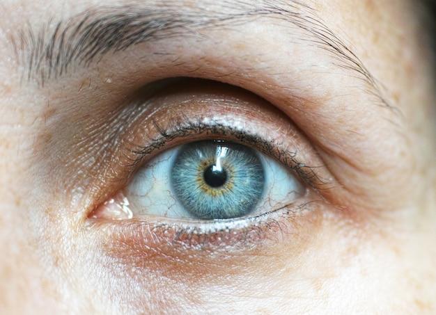 Primer plano de ojo azul