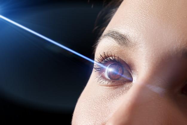 Primer plano del ojo de la mujer. rayo láser en la córnea. concepto de corrección de la visión con láser.