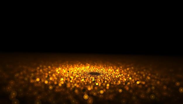 Primer plano de partículas de brillo dorado con centro enfocado