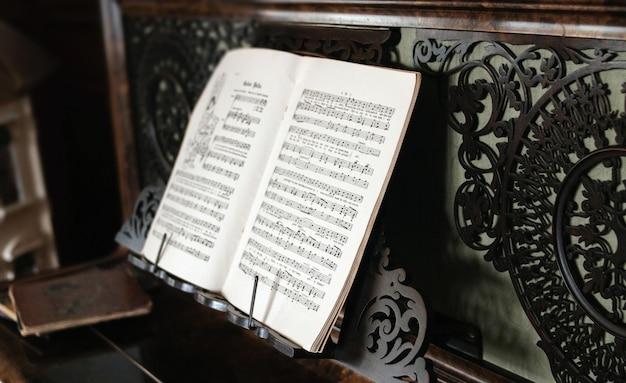 Primer plano de la partitura en blanco y negro en el piano