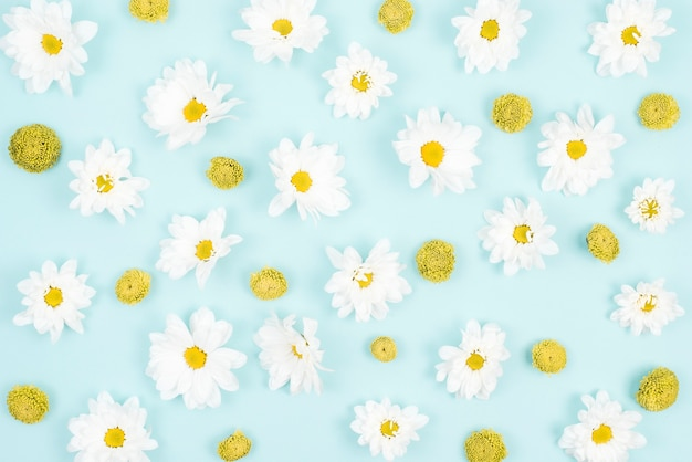 Primer plano de patrón de flores sobre fondo azul