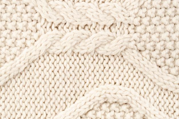 Primer plano del patrón de lana crema