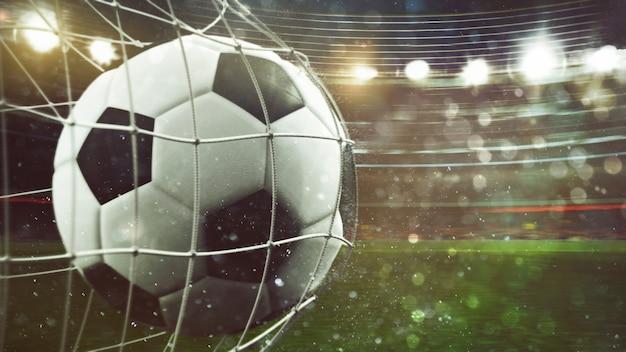 Primer plano de una pelota que entra en la red en un partido de fútbol. representación 3d