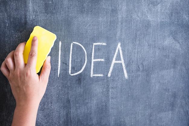Primer plano de una persona que limpia la idea de la palabra escrita en la pizarra con el plumero amarillo