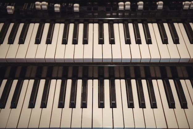 Primer plano, de, piano, teclado