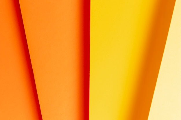 Primer plano plano de diferentes tonos de colores cálidos.
