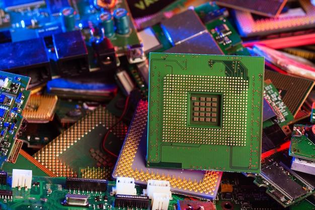 Primer plano del procesador de chip cpu