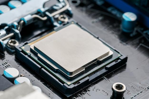 Primer plano del procesador de chip de cpu