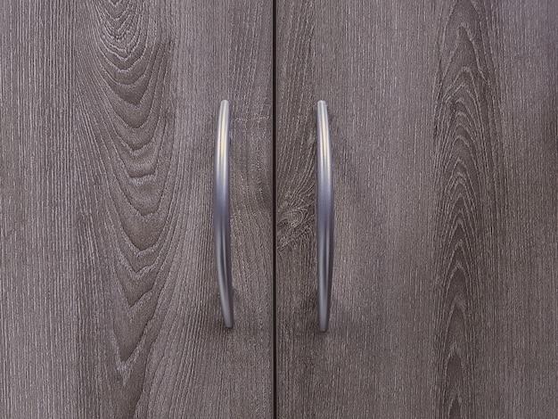 Primer plano de puertas de armario de madera, texturas de madera