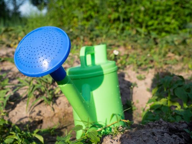 Primer plano de una regadera de plástico verde con un pico azul de pie en el suelo en el jardín. el concepto de agricultura y horticultura.