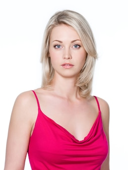 Primer plano, retrato, de, joven, rubio, mujer hermosa