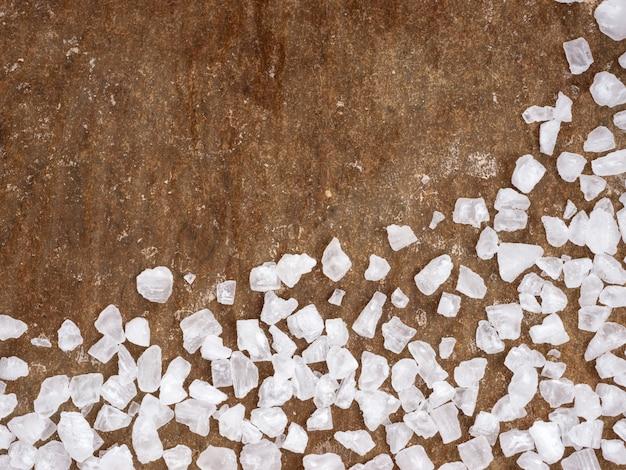 Primer plano de sal gruesa