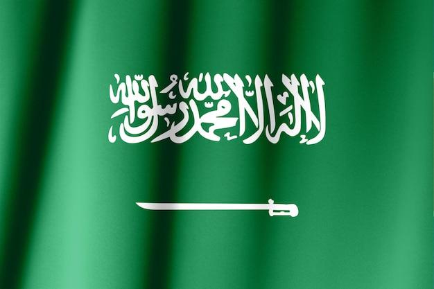 Primer plano de la sedosa bandera de arabia saudita