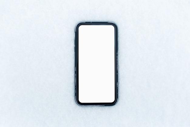 Primer plano, de, smartphone, con, pantalla en blanco