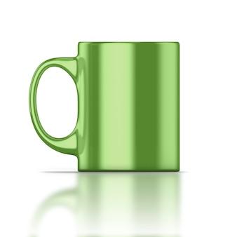 Primer plano de taza verde aislado en blanco