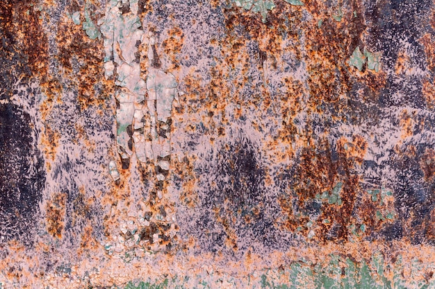 Primer plano de textura de fondo de pintura oxidada agrietada vieja