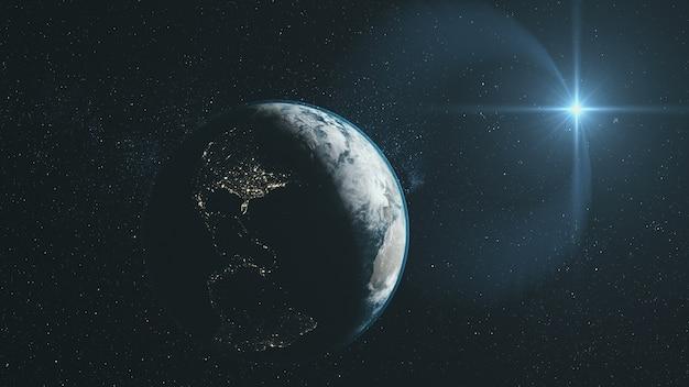 Primer plano de la tierra órbita descripción general del espacio profundo estrellado