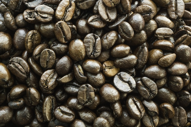 Primer plano de varios granos de café uno al lado del otro