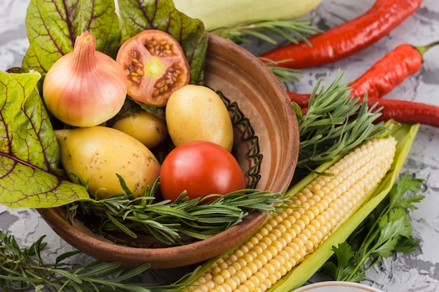 Primer plano de verduras sabrosas