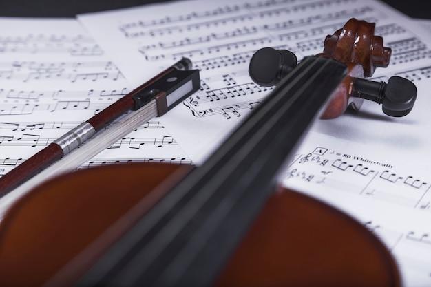 Primer plano de violín en partituras