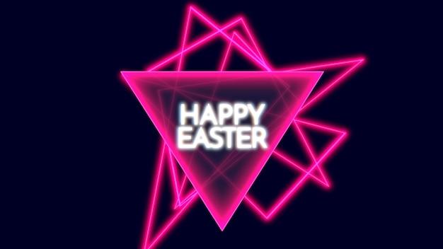 Primer texto feliz pascua en el fondo de la discoteca con triángulos de neón rosa
