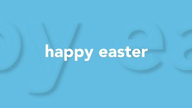 Primer texto feliz pascua en moda azul y fondo moderno