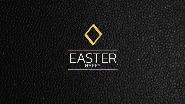 Primer texto feliz pascua en moda negra y fondo moderno. estilo de ilustración 3d elegante y de lujo para plantilla de vacaciones y promoción