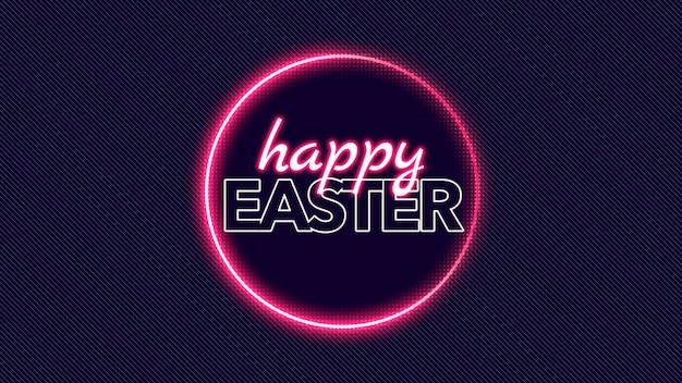 Primer texto feliz pascua de resurrección en el fondo de la discoteca con círculo rojo neón. estilo de ilustración 3d elegante y de lujo para plantilla de vacaciones y promoción